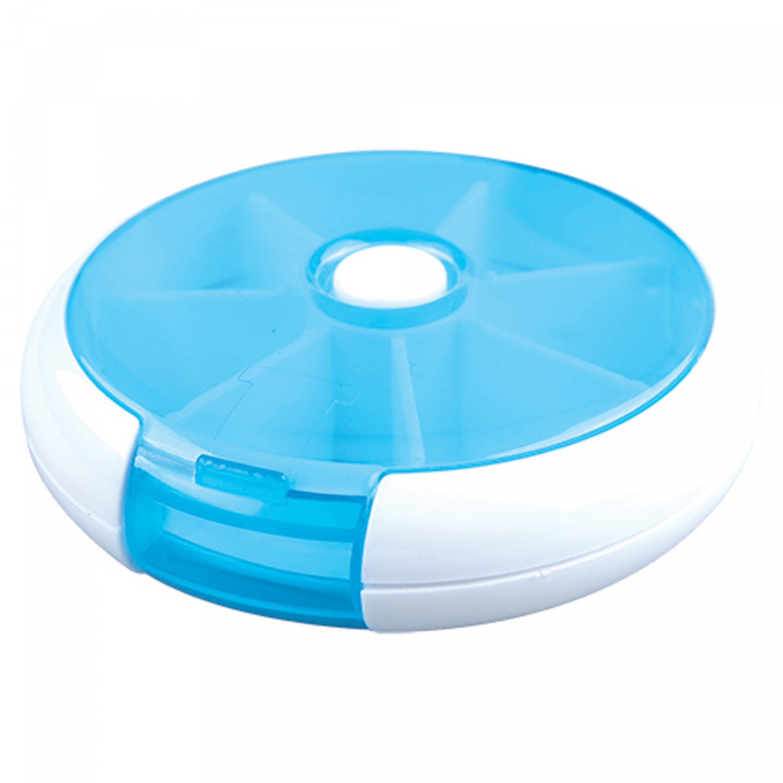علبة سفر ادوية بلاستيك DPT دائري 7 فتحات غطاء بلاستيك